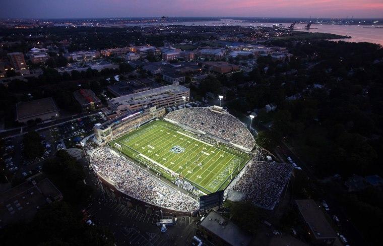 Aerial view of ODU stadium at night